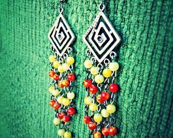 Beautiful Yellow & Red Chandelier Earrings