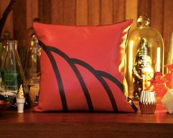 Leather and Denim Red Scallop Cushion