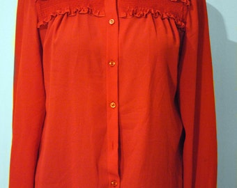 Vintage red top with smocking