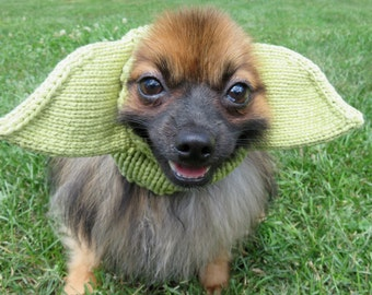 Yoda Inspired Hat for Dogs, Star Wars, costume, dress up, hand knit
