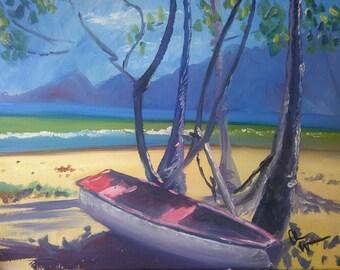Red boat, white sands (Brazilian Beach)