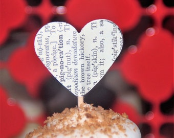 Vintage Book Page Heart Cupcake Picks/toppers- set of 12