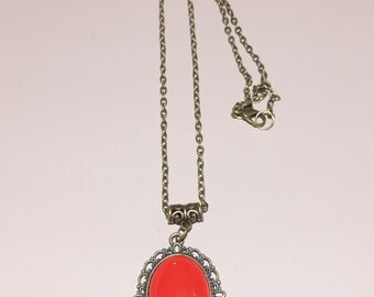 Red cabochon necklace
