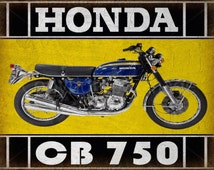 Honda CB 750   classic motorcycle metal tin sign poster wall plaque vintage garage wall decor
