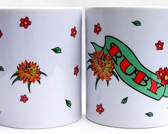 Name mug personalised banner with name and flowers Lily by Tattoo Mug Lady