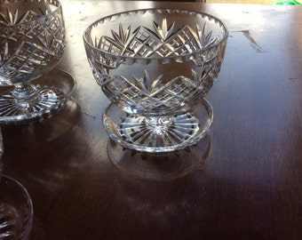 Five Crystal up turned footed trifle or desert bowls