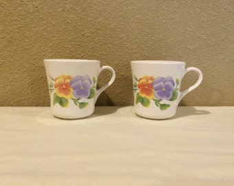 Vintage floral coffee mug set, Corning Pansy Mugs