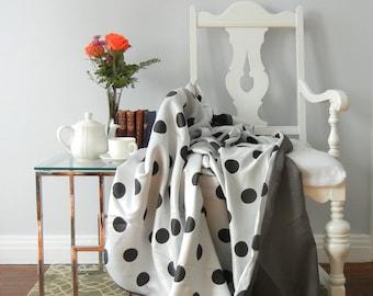Throw Blanket, Black & White Throw, Black White Blanket, Polka Dot Throw, Polka Dot Blanket, Lightweight Throw, Lightweight Blanket, Tweed