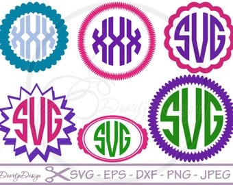 SVG files Monogram Circle, Monogram SVG, files for Cricut, dxf files designs for silhouette, cut file, svg monogram, SVG monogram Designs