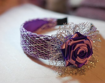 Purple and silver flower headband