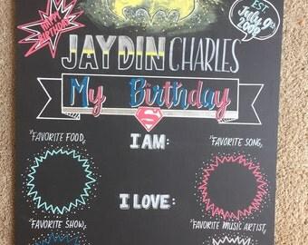 Reusable Superhero Birthday Chalkboard