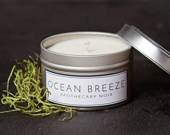Ocean Breeze Scented Soy Candle in Travel Tin
