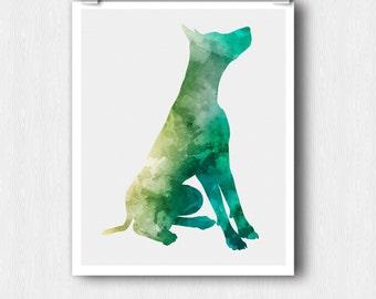 Watercolor Dog Print - Printable Wall Art - Green 8 x10 Minimalist Silhouette Animal Print - Instant Download - Digital Print - Gift Idea