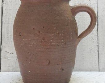 Vintage French terracotta pot with handle, primitive pottery, handmade rustic pottery .
