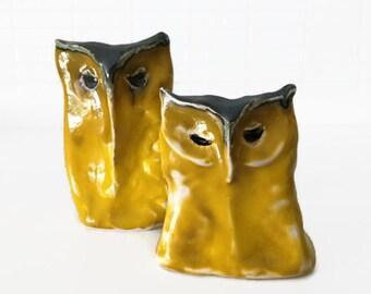 Ceramic, Yellow, Owl, Handmade
