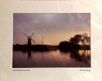 "Thurne Windmill, Norfolk Broads, Sunset Photograph, Signed Limited Edition A4 Landscape Color Photograph 40cm x 30cm (16"" x 12"") Mount"