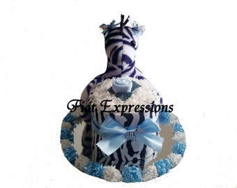 Girl Zebra Mini Diaper Cake