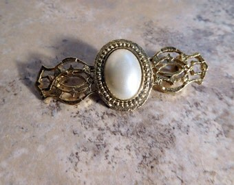 Gold Tone Vintage Bar Pin With Filigree and Faux Pearl