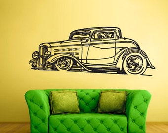 rvz1506 Wall Decal Vinyl Sticker Hot Rod Car Auto Automobile Retro Old Muscule