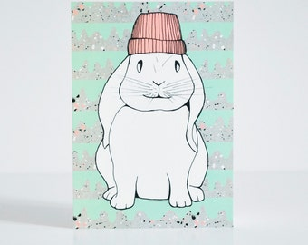 Rabbit with Beanie Postcard
