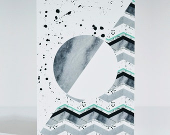 Sliced Artwork - A5 card - Artwork with Marble, Ink splatting and zigzag all-over print