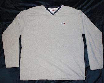 Tommy Hilfiger Long Sleeve V-Neck T-Shirt by Tommy Jeans  Men's XL