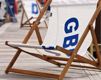 Personalised Wideboy Deck Chair with Recycled Sailcloth Sling