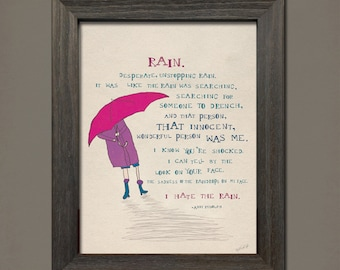 Rain: Colorful, whimsical poem and illustration—8x10 instant download printable poster