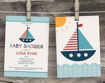Sailor baby shower invitation, sailboat baby shower invitations, baby shower sailboat, baby shower sailor, babyshower sailboat invites