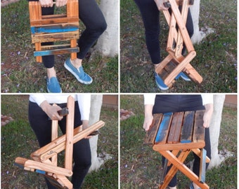 Reclaimed Pallet Wood Folding Stool