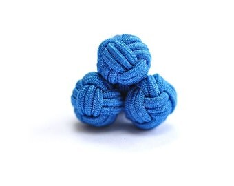 Blue Silk Knot Bound Cufflinks
