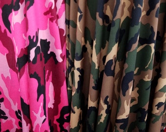 Army Nylon Spandex Camouflage Fabric Strech Sold By Yard- Pink and Green Camo