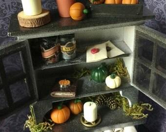 Miniature halloween display cupboard