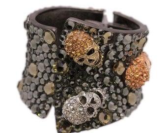 Tri Color Skull Cuff Bracelet