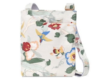 Oilcloth Crossbody bag - Orchid - Ladies Purse - Ladies Handbag - Floral Fabric Satchel - Oilcloth bag - Oil cloth bag- Laminated cotton