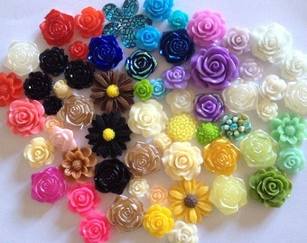 Mix of 20 resin flowers Flatback Embellishments Card making scrap booking crafts frames