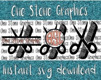 Scissor and comb monogram svg,scissor svg,monogram svg,Stylist svg, Hair dresser,Monograms svg,cosmologist svg,scissor cut file,cut file