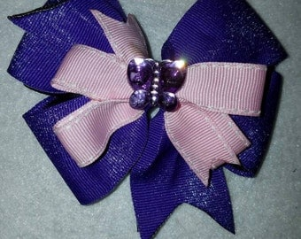 Purple,pink pinwheel hairbow  BUTTERFLY
