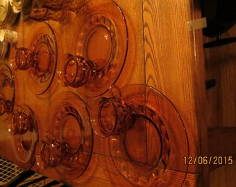 Vintage Kings Crown Thumbprint Amber Dishes