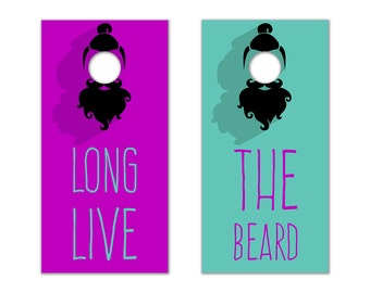 Long Live The Beard Cornhole Board Set with Bean Bags