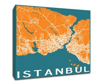 Istanbul Map printed on gallery-wrapped canvas