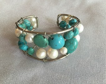 Turquoise and pearl cuff
