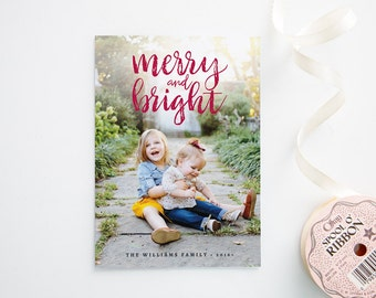 Merry and Bright - Christmas Photo Cards - Hand Lettering - Rustic Photo Card
