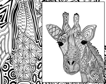 Giraffe Coloring Page Animal Adult Intricate Pdf