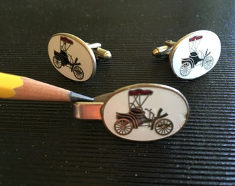 Antique car cuff links and matching tie clip