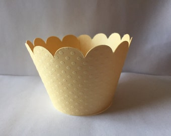 Yellow set of 12 cupcake wrappers, baby shower, birthday party, spring party