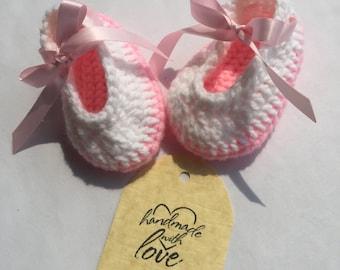 Crochet Handmade Baby ballerina slippers