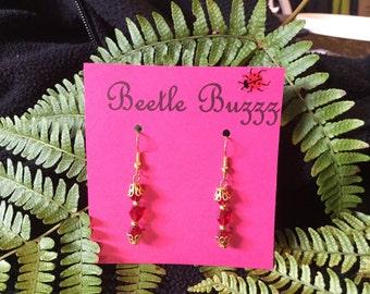 Handmade red Swarovski earrings