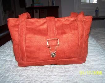 Rust Faux Suede Handbag