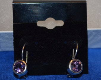 E-008: Solid Sterling Silver Round Purple Faceted Drop Earrings
